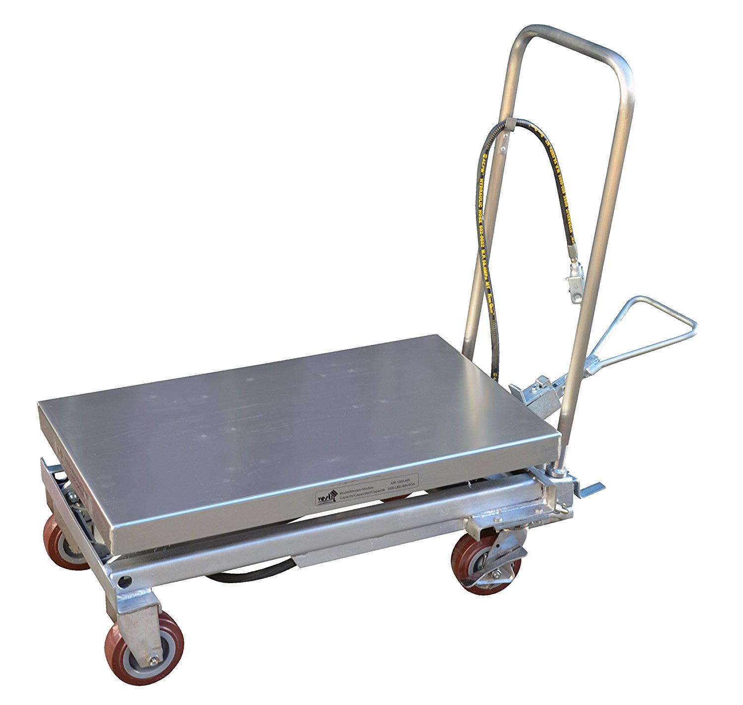 "Vestil AIR-1750-PSS Air Partial Ss' Cart 1750 lb. Capacity, 20"" Width x 39-1/2"" Length, Height Range 14-1/4""-39-1/2"", 80# Minimum Psi, 3/8""Incoming Airline"