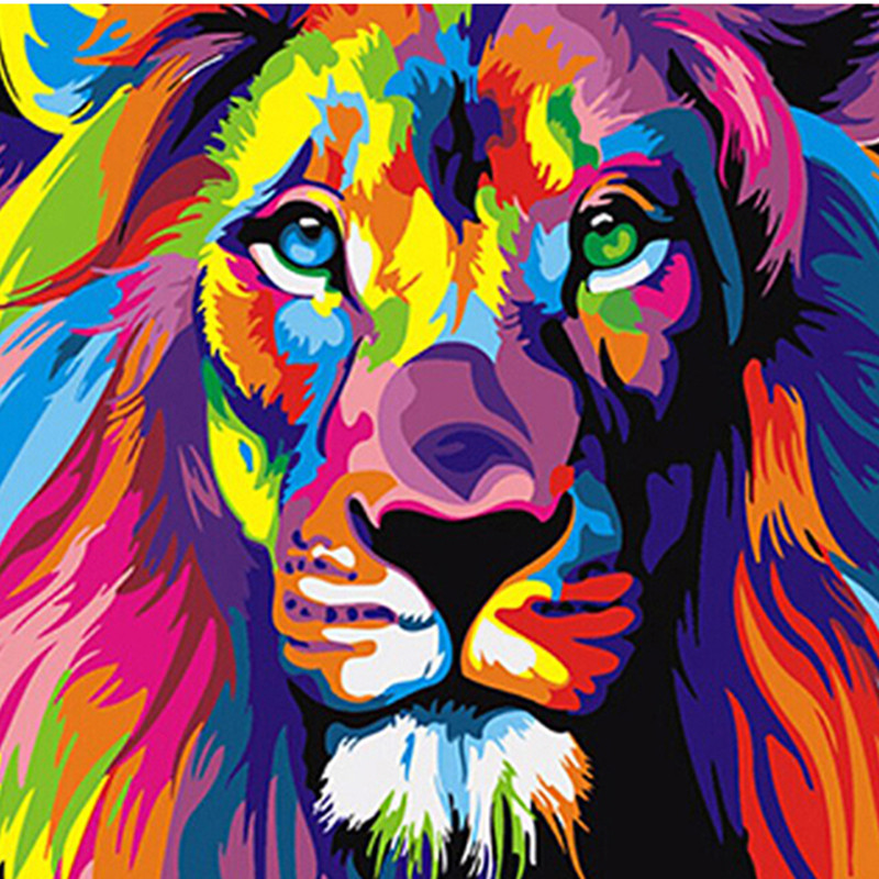 Frameless Colorful Lion Animals Abstract Painting Diy Digital Paintng By Numbers Modern Wall Art <strong>Picture</strong> For Home Wall Artwork