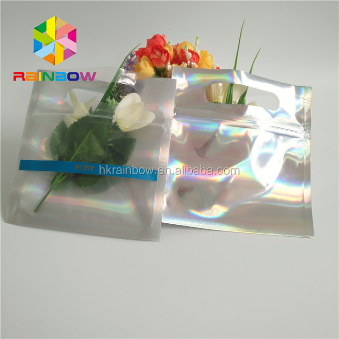 Customized Shinny Colorful three side seal resealble ziplock holographic foil bags with clear front