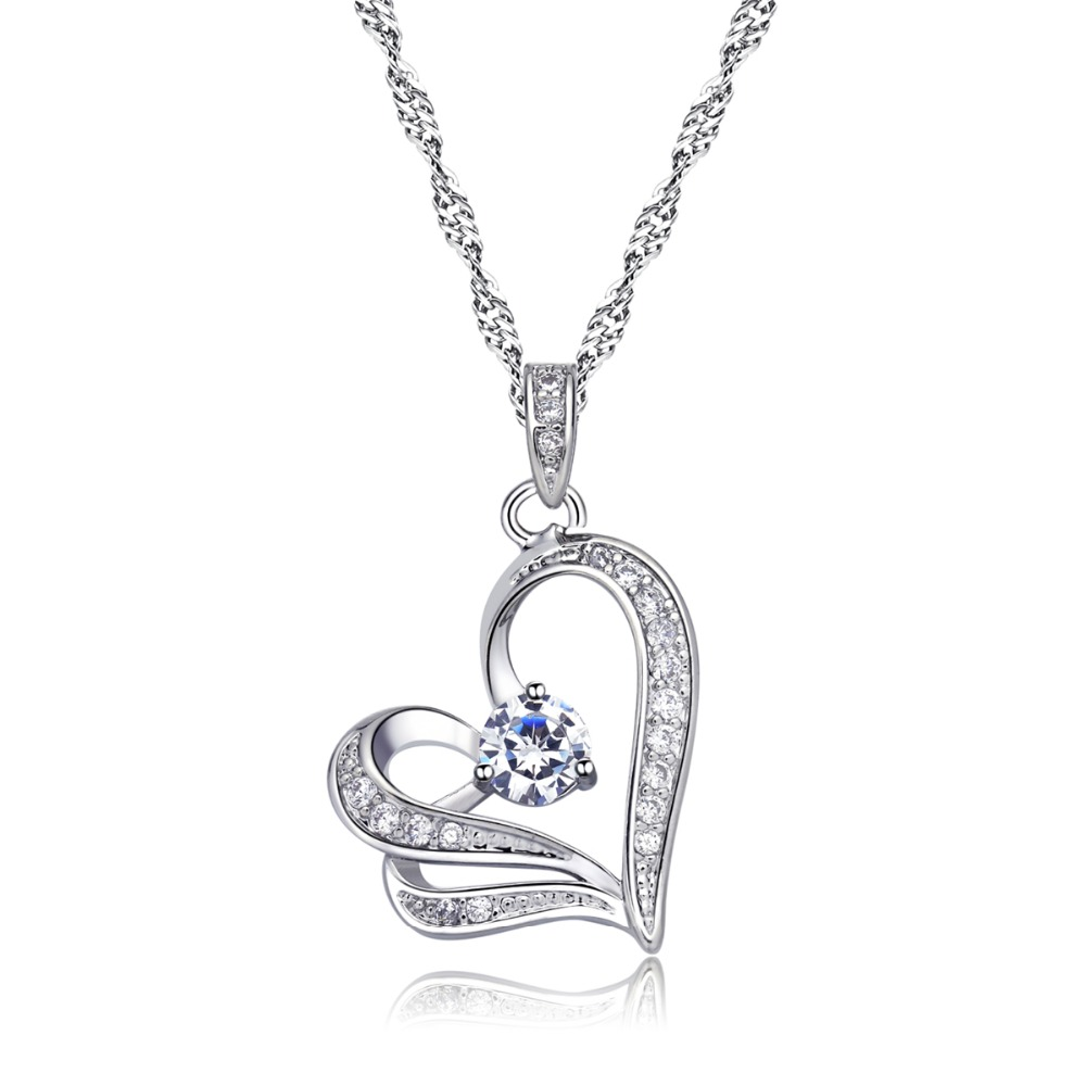 White Gold Plated CZ Crystal Double Hearts Necklace Fashion Austrian Crystal Necklace Wholesale Fashion <strong>Jewelry</strong>