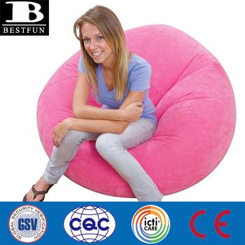 Durable Inflatable Bean Bag Lazy Sofa Flocking Inflatable Bean Air Bag Seat  Folding Indoor Inflatable Chair