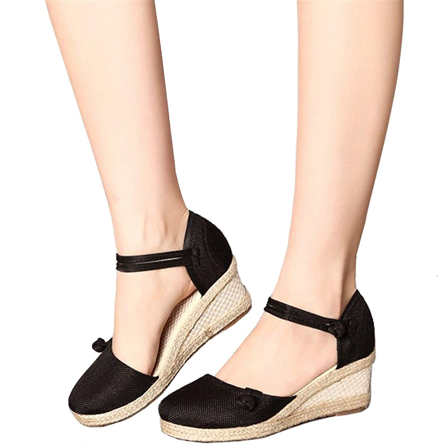 81ad6b3d0a6 Get Quotations · Yu He Women s Casual Wedge Sandals Shoes Ankle Strap  Closed Toe Espadrille Platform Wedge