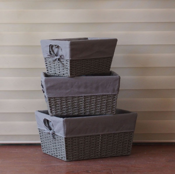 Etonnant Paper Rope Woven Storage Basket With Grey Canvas Liner