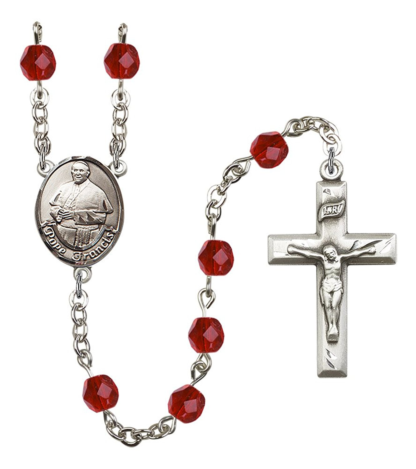 Silver Finish Pope Francis Rosary with 6mm Ruby Color Fire Polished Beads, Pope Francis Center, and 1 3/8 x 3/4 inch Crucifix, Gift Boxed