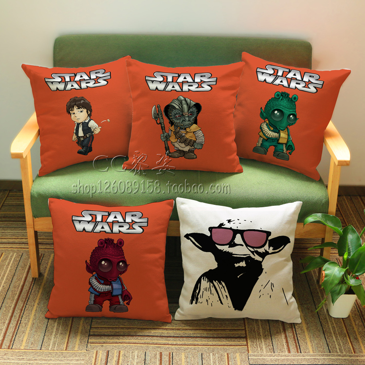 Cartoons Star Wars monster Yoda Wall Stickers pattern luxury home decoration outdoor Car sofa seat cushion cushions pillow