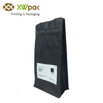 Food Safety Printed Flat Bottom Packaging Bag with Valve 454g Roasted Coffee Beans Box Pouch