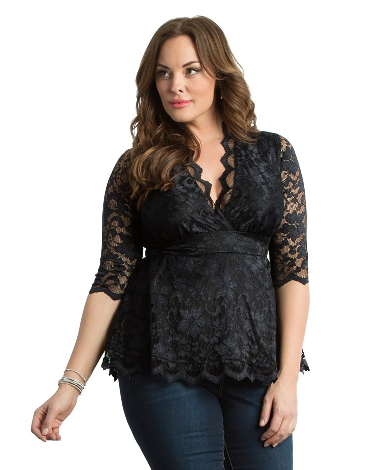 a347871acd4 ... Astoria Lace Peplum Gown. 228.00. Kiyonna Women s Plus Size Linden Lace  Top 0x Black Lace Black Lining