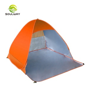 Customized outdoor orange 1-2 3-4 person instant pop up lightweight beach tent for sun shelter