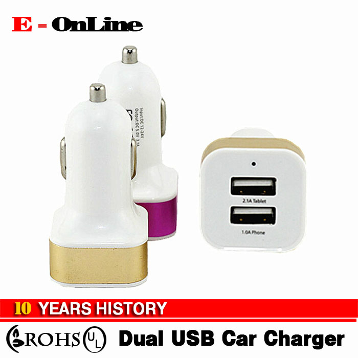 High Quality Micro Auto Mini Universal Dual USB Car Charger For iPad iPhone 5V 2.1A Mini Adapter