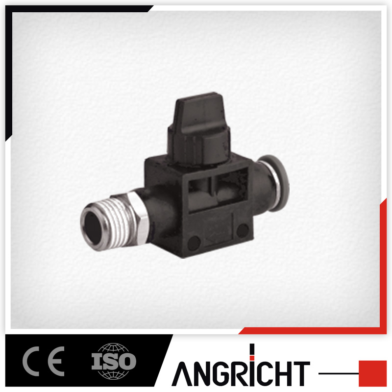 A333 Plastic Pneumatic Male Thread Push In Hand Control Valve