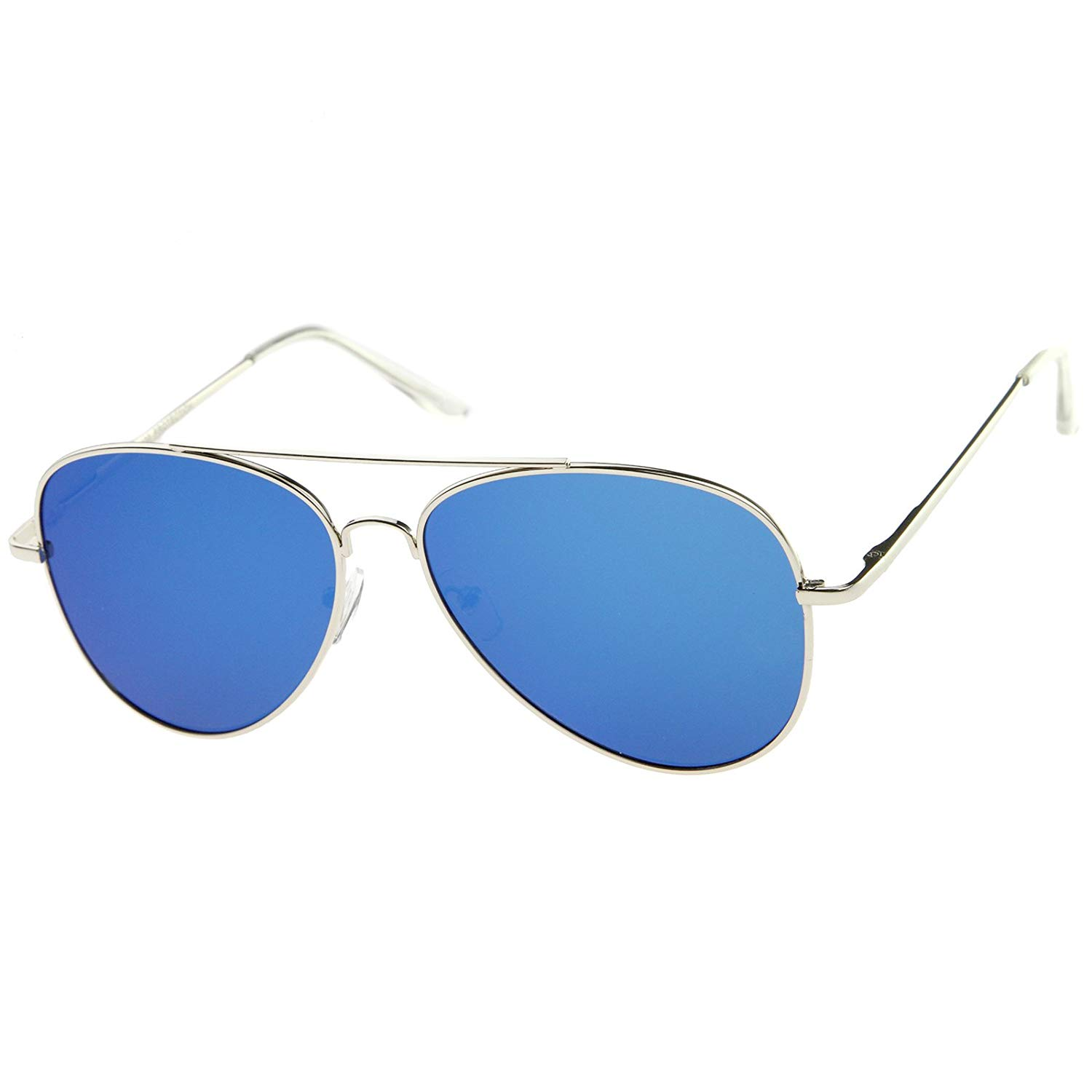 23eb01459 Get Quotations · zeroUV - Large Full Metal Color Mirror Teardrop Flat Lens Aviator  Sunglasses 60mm