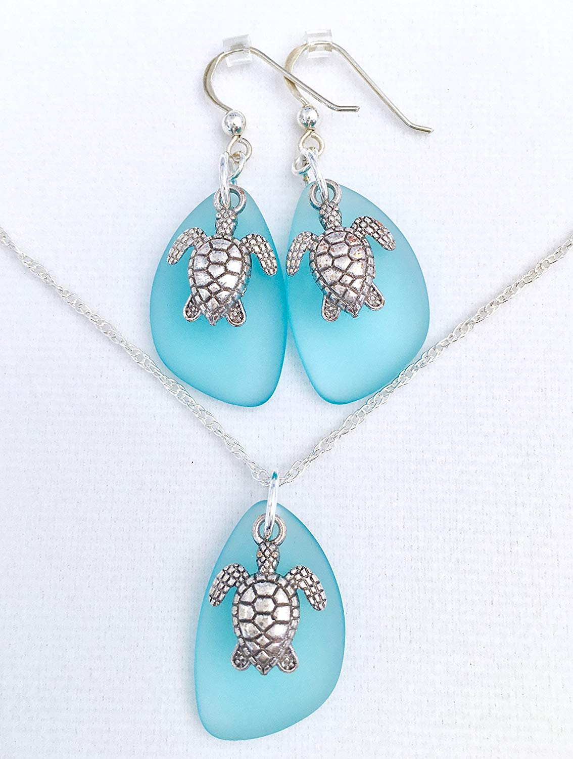 Handmade Sea Turtle Aqua Sea Glass Set, STERLING SILVER JEWELRY SET, Christmas Present for Her, Jewelry Set, Sea Glass Earrings, Aqua Jewelry, Gifts for her, Dangle Earrings