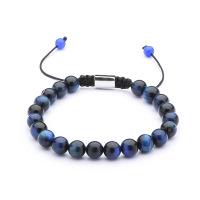 High Quality Wholesale Nature 8mm Blue Tiger Eye Stone Beads Adjustable Men Bracelet