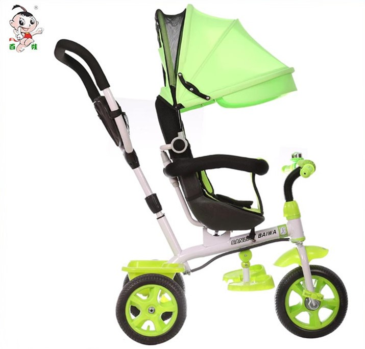 Hot sale 4 in 1 sunshade push baby tricycle foldable baby trike toy cars for kids