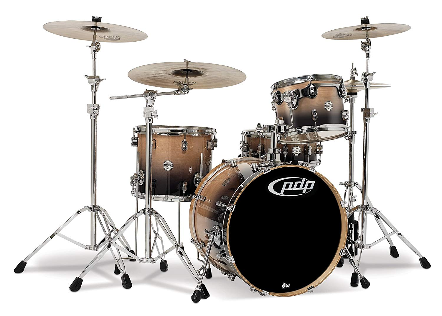 Pacific Drums PDCB2014NC 4-Piece Drumset with Chrome Hardware - Natural to Charcoal Fade