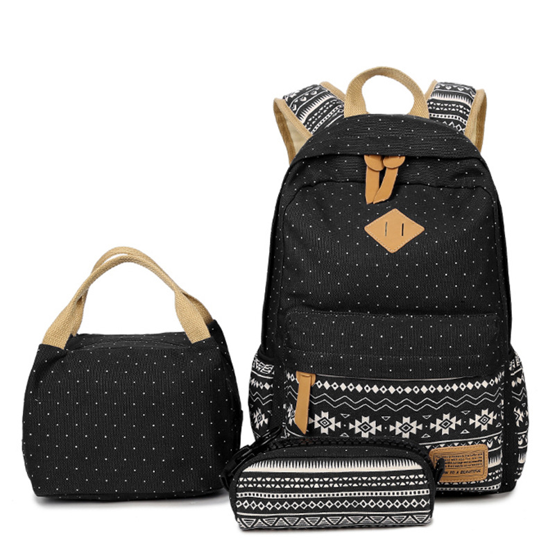 <strong>School</strong> Teenage Girls Back Pack Canvas Cute Backpacks Set Adult <strong>School</strong> Bag And Lunch Bag Set