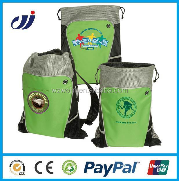 Promotional Sports Cinch Bag / Cheap 210 Denier Nylon Drawstring Backpack / small shopping bags