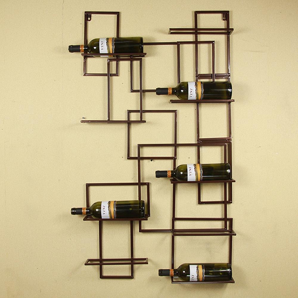 Classic Handmade Vintage DIY Iron Wall Mounted Wine Bottle ...