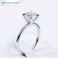 Tianyu Customized 14K/18k white Gold 4 claw prongs solitaire Ring 8.5mm round heart&arrow Moissanite Diamond engagement ring