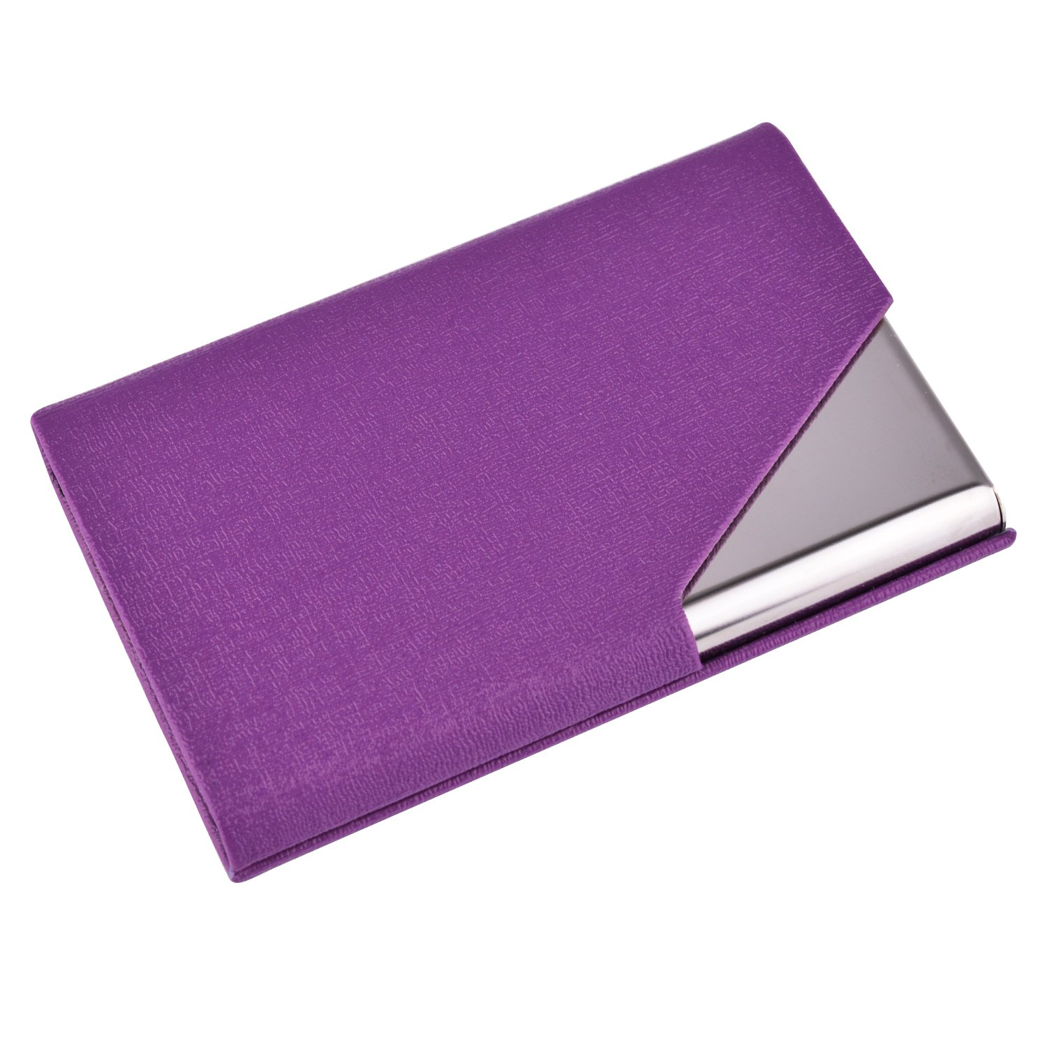 Maxgear Professional Business Card Holder PU Leather & Stainless Steel Business Card Case Metal Card Holders Women Name Card Holders with Magnetic Shut, Triangle Purple