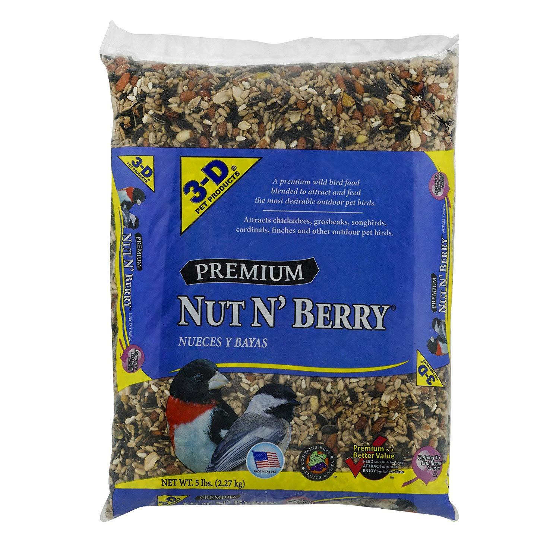3-D Pet Products Premium Nut N' Berry Dry Parrot Food, 5 LB