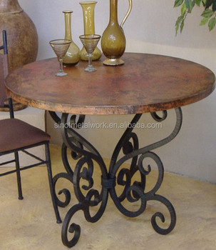 Decorative Wood Pedestal Round Bent Metal Table Base Wrought Iron Leg For Legs Designer