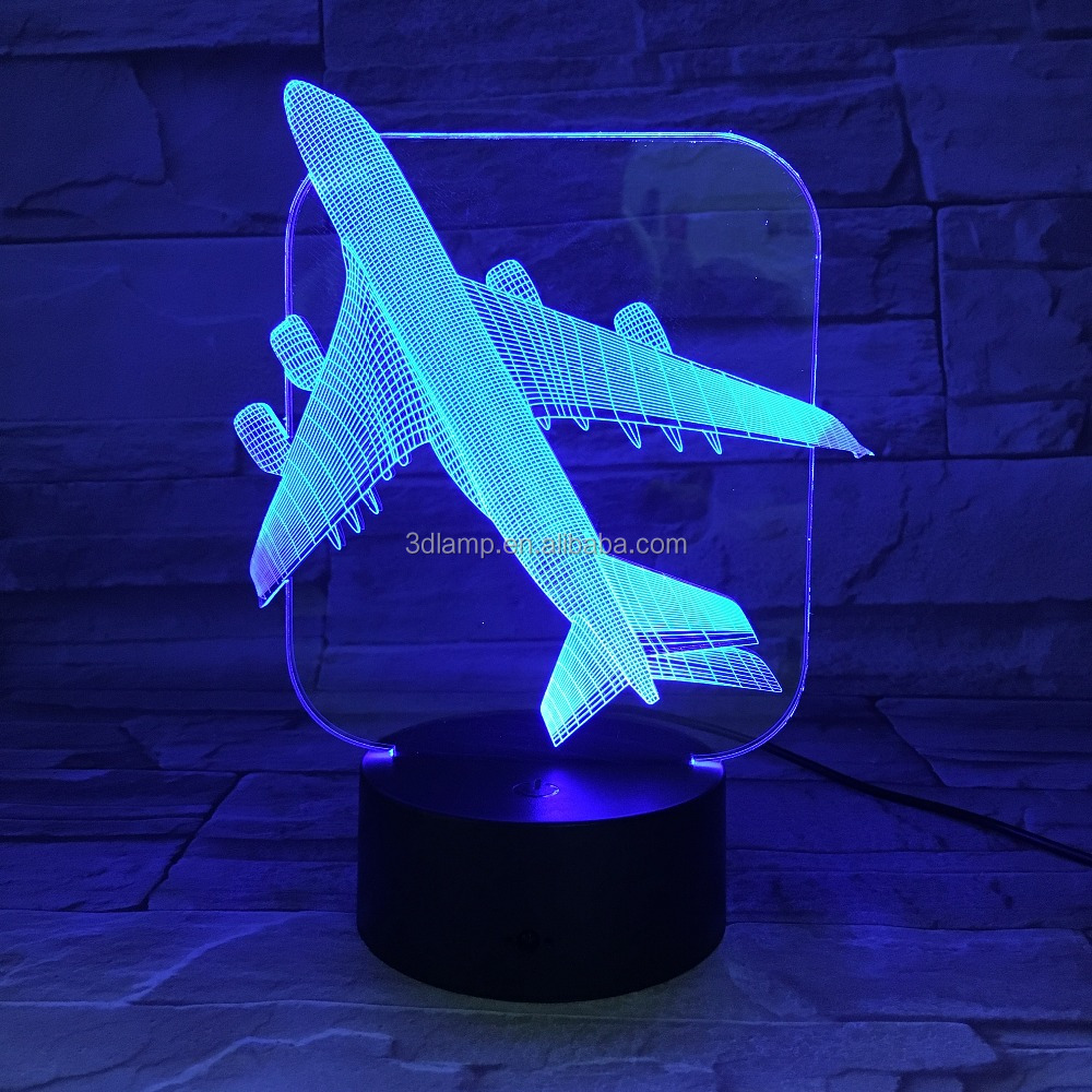 Plane pattern 3d line lamp night light table lamp for room decoration and improvement