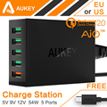Aukey Quick Charge 2 0 54W 5 Port Micro USB Desktop Mobile Charger QC2 0 Wall