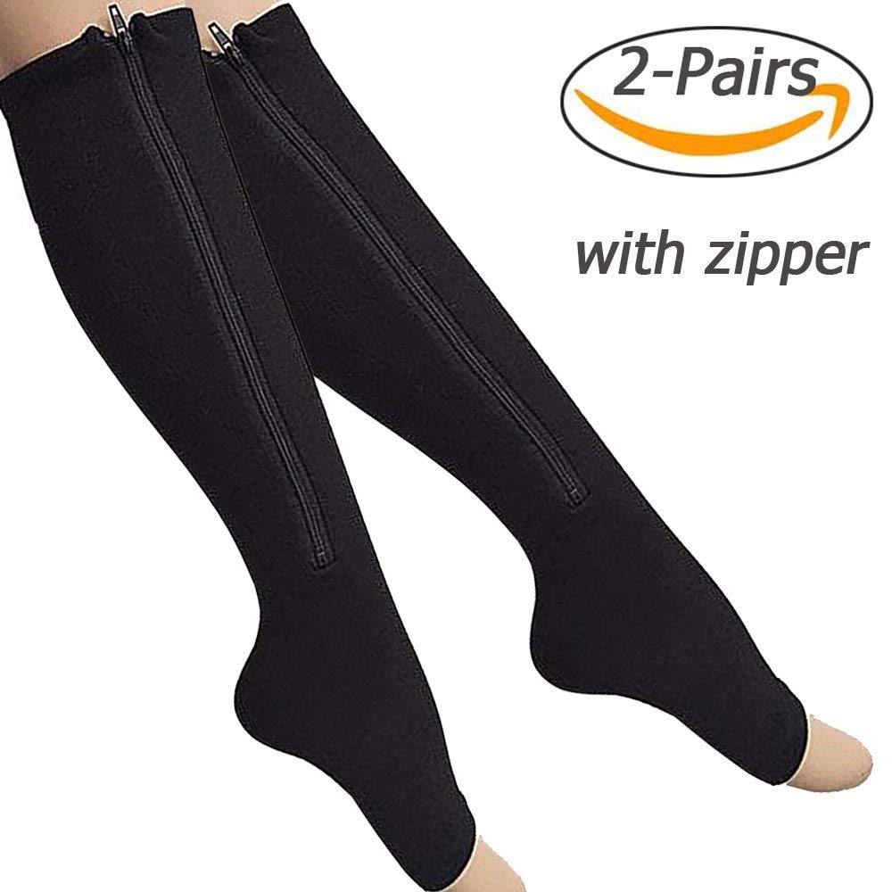 f07ad63d97c Get Quotations · 2-Pack Zipper Compression Socks for Men Women with Open Toe