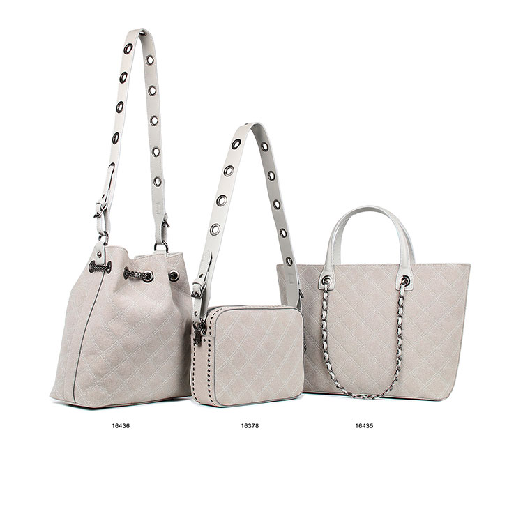 ethnic embroidery guangzhou leather grey seude handbag 3 bags set