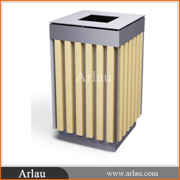 (BW-30) Public Outdoor Wooden Rubbish Bin