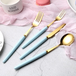 Hotel Spoon Fork Set Porcelain Flatware Rose Gold Matte Ceramic Handle Cutlery