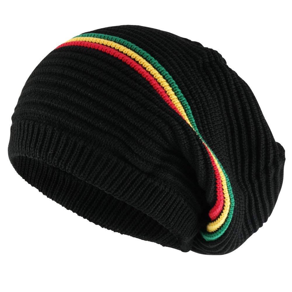 7f31dbae9c7 Get Quotations · 11 Inch Deep Crown Style Rasta 100% Cotton Beanie Hat