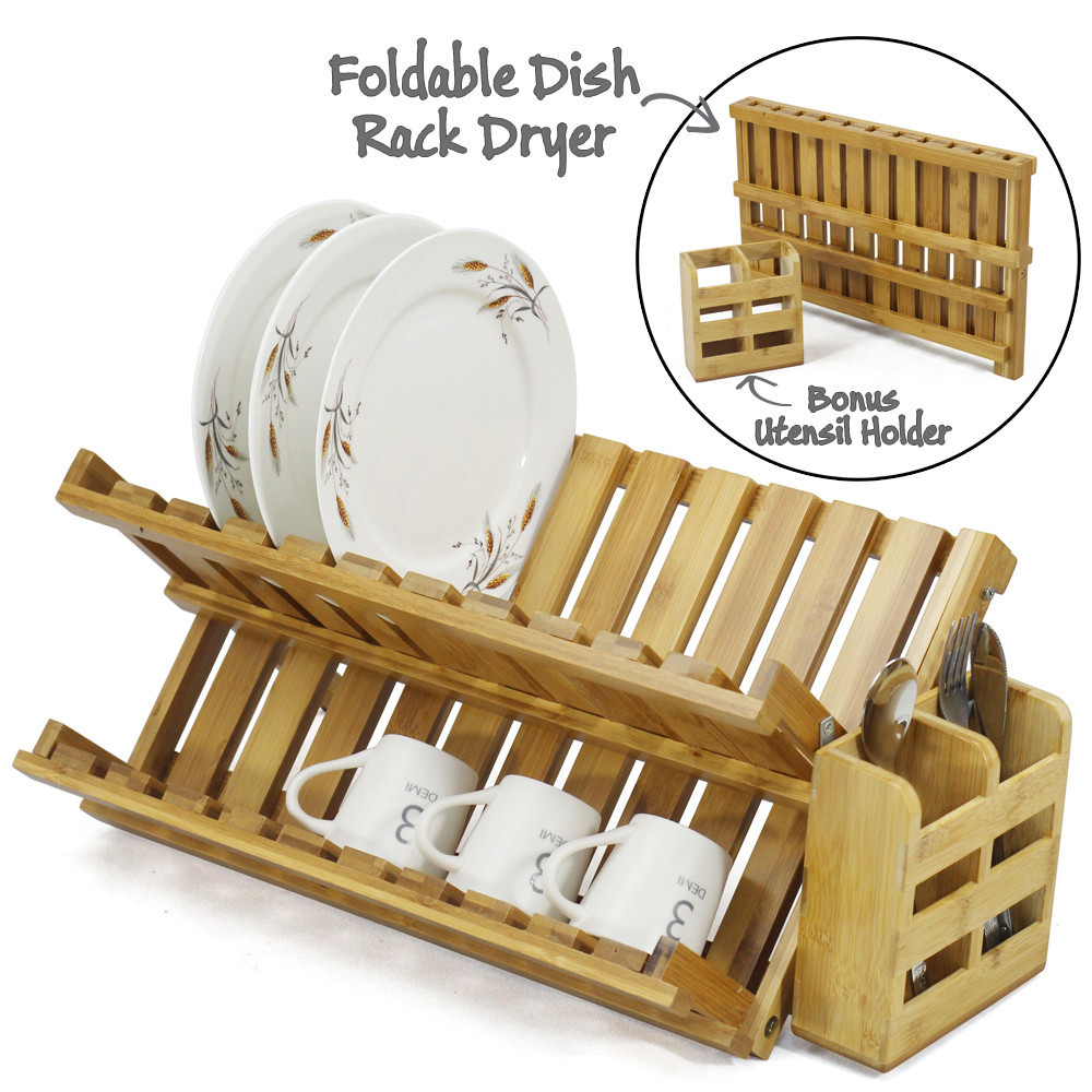 Kitchen Bamboo X Shaped Folding Dish Rack With Utensil Holder 3