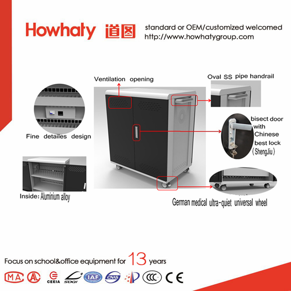 Electric Laptop Charging Cabinet For School Used With Aluminium Alloy Interlayer