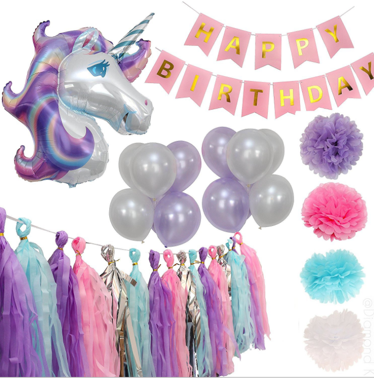 Purple Unicorn Party Decorations Balloon For Kids With Purple Latex Balloons and Pink Banner and Paper  Poms For Birthday Party