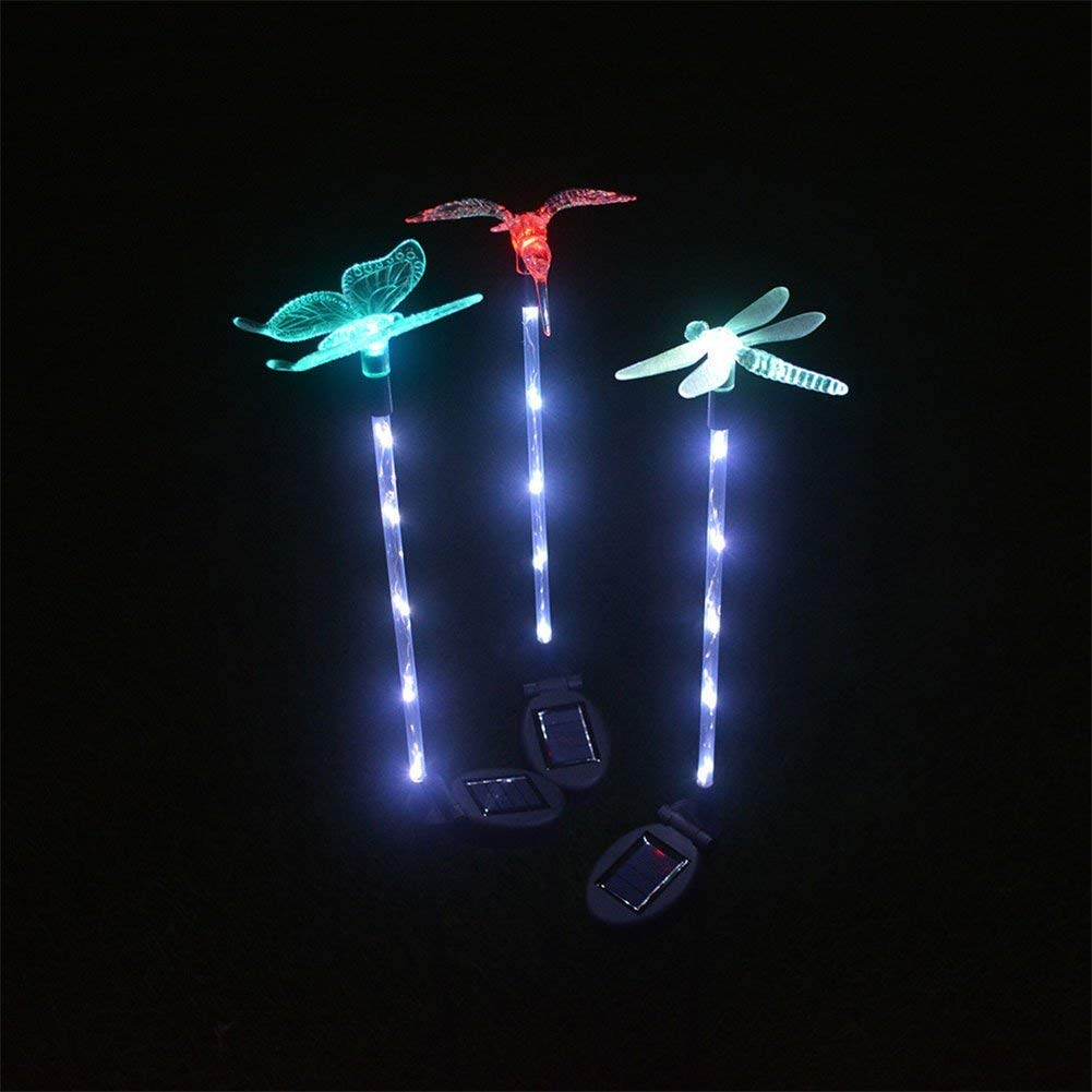 DSstyles 3Pcs Solar Energy Powered 5 LED Colour-changing Lawn Pin Lamp Luminous Stick Landscape Light Home Festival Yard Garden Decoration