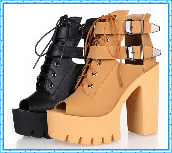 51bb09241 buckle summer shoes fashion platform shoes woman high heels open toe sandals  for women shoes 2016 ladies peep toe pumps C861