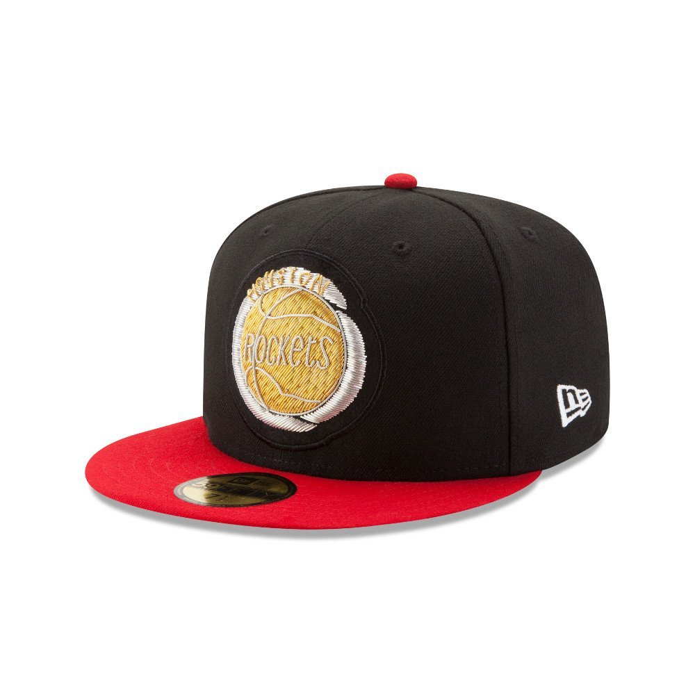 new product d388d 2ba1c Houston Rockets New Era Beaded Logo 59Fifty Fitted Hat (Black)