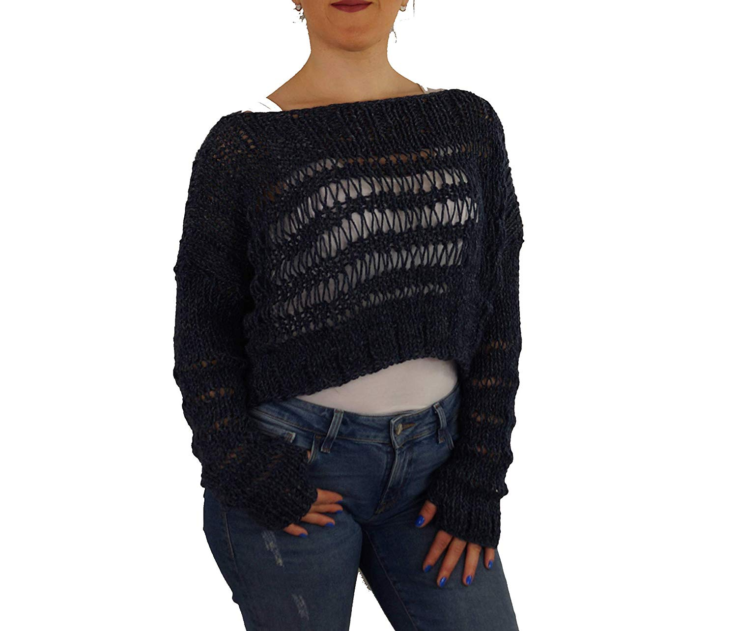 5b445fbd7c9500 Get Quotations · Navy blue sweater Women s sweater Chunky hand knit sweater Alpaca  pullover Oversize