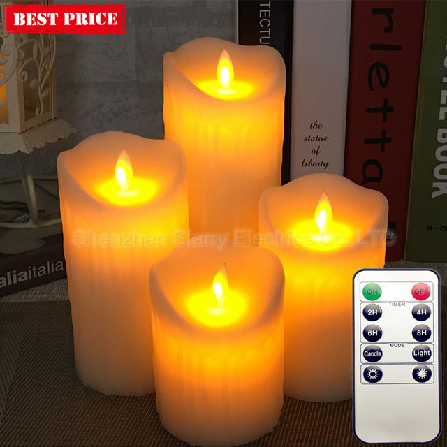 hot selling moving flame dripping ivory wax electric christmas decoration candle lights