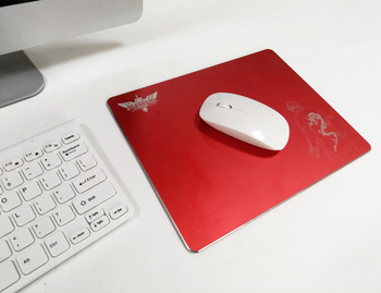 High-end Aluminum alloy Metal Red color gaming mouse pad for laptop Computer passed S GS factory, R OHS REACH