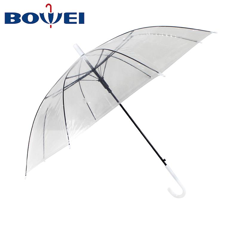 Cheap poe clear straight plastic umbrellas transparent with custom printing