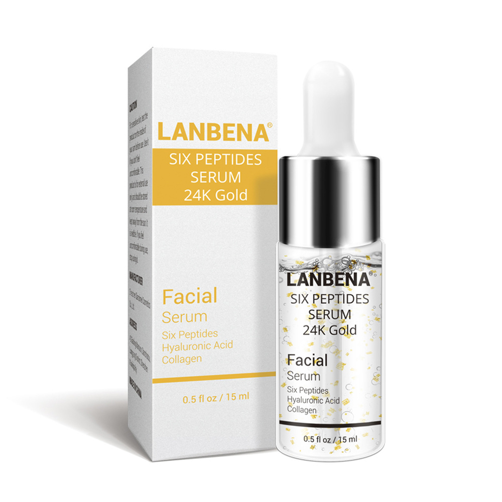 Lanbena Skin Care Collagen Anti Wrinkle 24K Gold Hyaluronic Acid Six Peptides Rich Serum Anti-aging Face Serum Liquid Essence