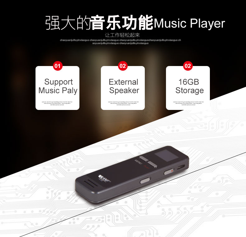 Dual MIC voice recorder support time sync + noise reduction + mp3