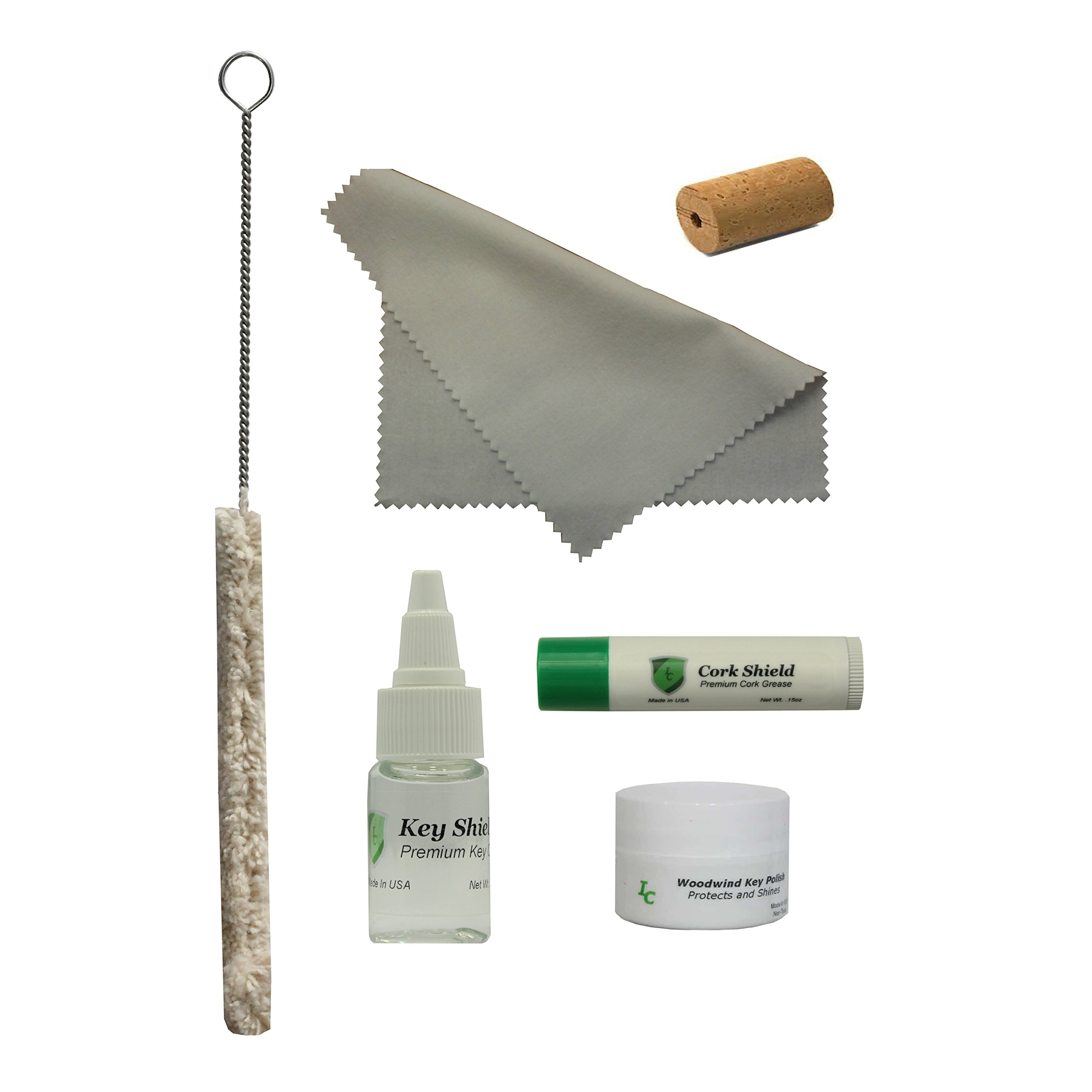 Instrument Clinic Flute Care Kit, with Cleaning Swab, Polishing Cloth, Key Oil, Cork Grease, Key Polish, Head Cork