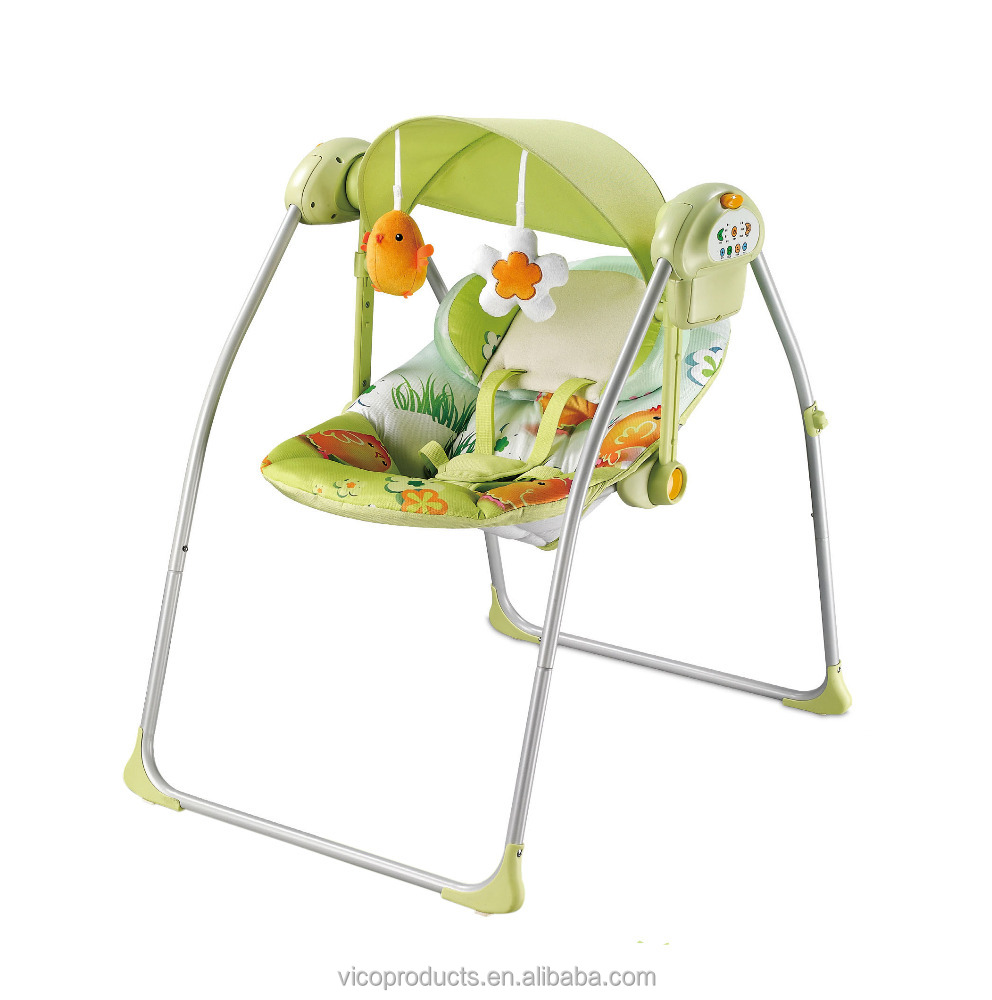 Simple electric indoor baby swing with canopy and toys