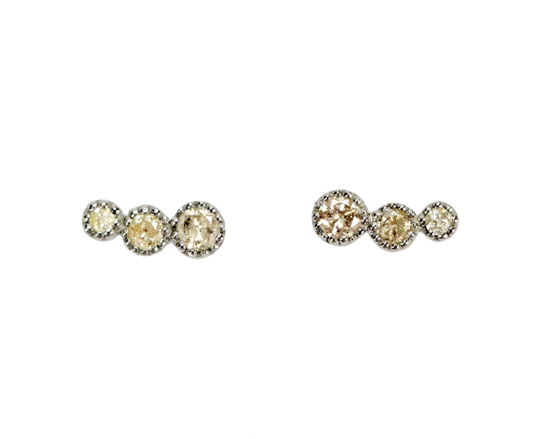 Get Quotations · Genuine Champagne Diamond Trio Sterling Silver Stud  Earrings - Dainty Real diamond Stud 5e4e58b50537