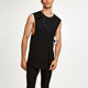 Wholesale Muscle Cut Black Draping Tank Vest