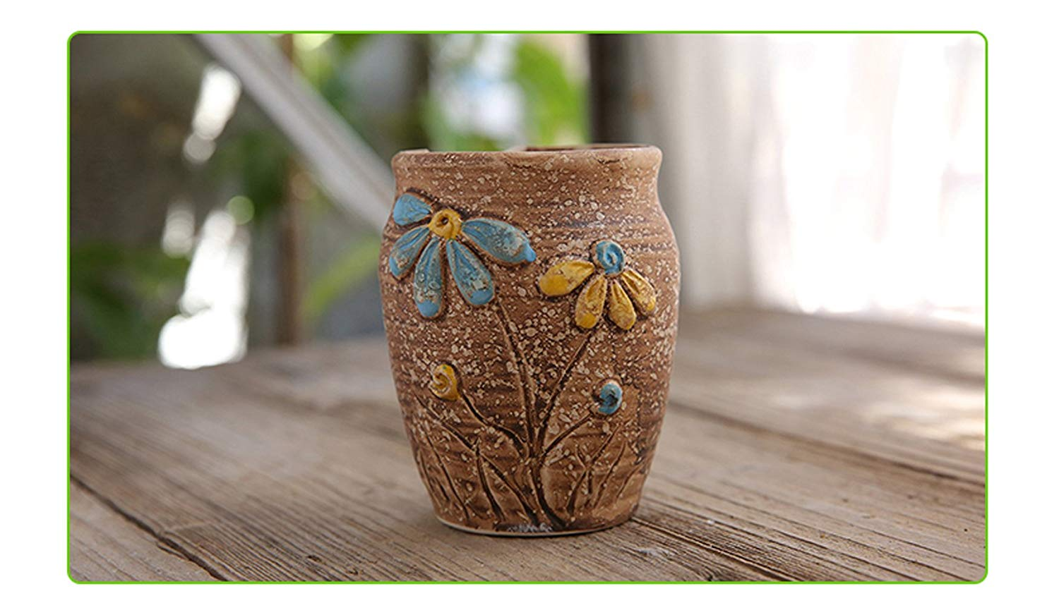 Better-Way Country Rustic Ceramic Sunflower Flower Design Succulent Planter Shabby Chic Cactus Container Decorative Pots Indoor
